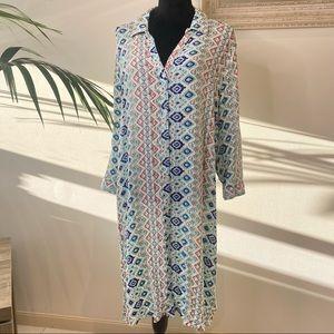 Suzanne Grae Beach Bohemian Pattern Button up Maxi Dress Size 2XL